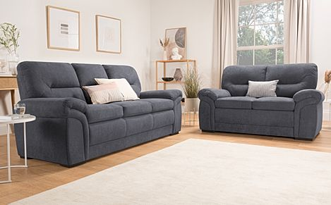 Bromley Slate Grey Plush Fabric 3+2 Seater Sofa Set