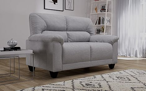 Austin Small Dove Grey Plush Fabric Sofa 2 Seater