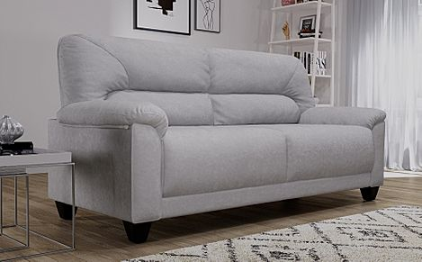 Austin Small Dove Grey Plush Fabric 3 Seater Sofa