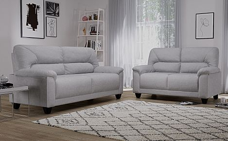 Austin Small Dove Grey Plush Fabric 3+2 Seater Sofa Set