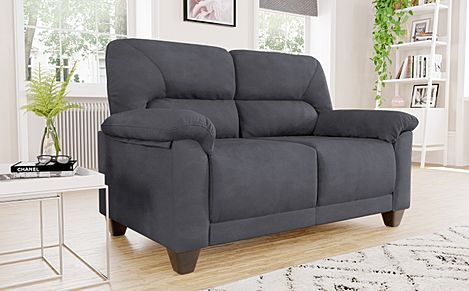 Austin Small Slate Grey Plush Fabric Sofa 2 Seater