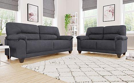 Austin Small Slate Grey Plush Fabric Sofa 3+2 Seater