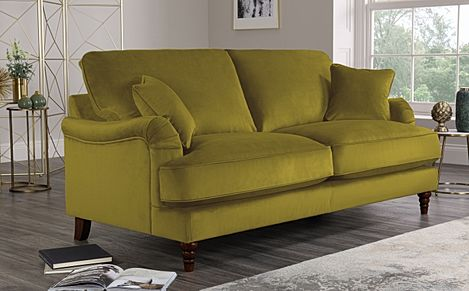 Charleston Olive Green Velvet Sofa 3 Seater