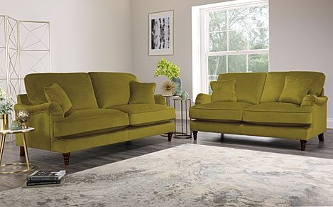 Charleston Olive Green Velvet Sofa 3+2 Seater
