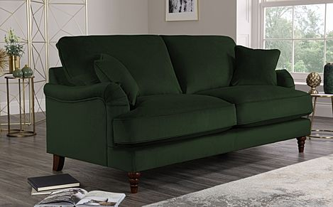 Charleston Emerald Green Velvet Sofa 3 Seater