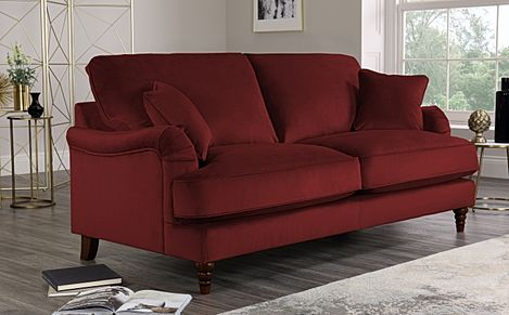 Charleston Burgundy Velvet Sofa 3 Seater