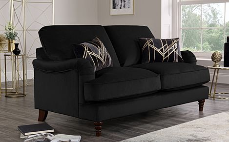 Charleston Black Velvet Sofa 2 Seater