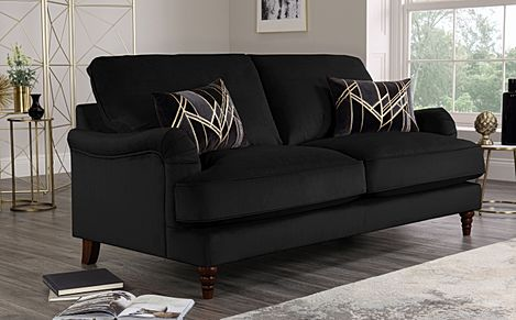 Charleston Black Velvet Sofa 3 Seater