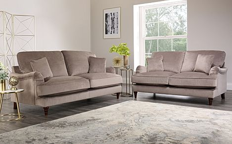 Charleston Mink Velvet Sofa 3+2 Seater