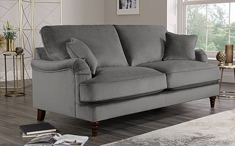 Charleston Grey Velvet Sofa 3 Seater