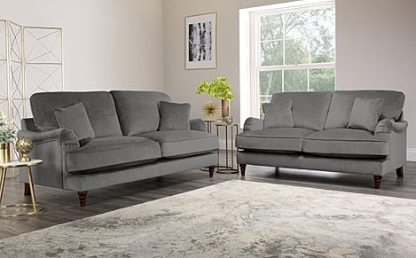 Charleston Grey Velvet Sofa 3+2 Seater