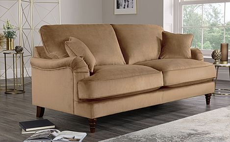 Charleston Oatmeal Velvet Sofa 3 Seater