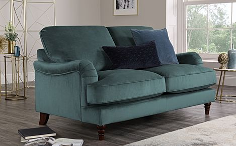 Charleston Blue Velvet Sofa 2 Seater