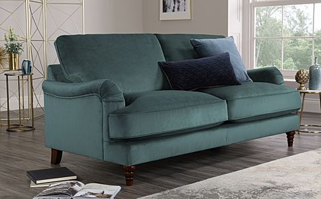 Charleston Blue Velvet Sofa 3 Seater