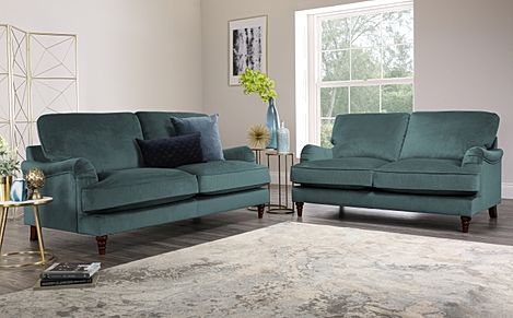 Charleston Blue Velvet Sofa 3+2 Seater