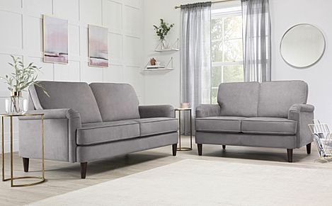 Pembroke Grey Velvet 3+2 Seater Sofa Set