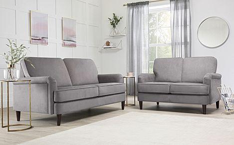Pembroke Grey Velvet 3+2 Seater Sofa Set