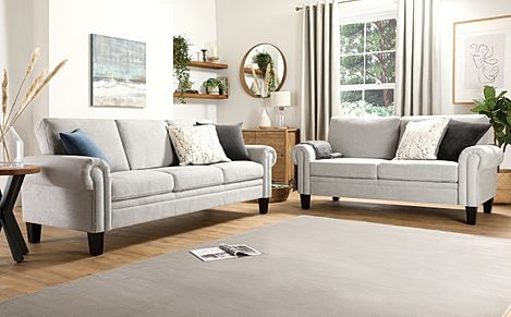 Oakley Dove Grey Plush Fabric 3+2 Seater Sofa Set