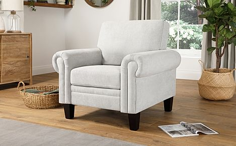 Oakley Dove Grey Plush Fabric Armchair