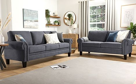 Oakley Slate Grey Plush Fabric 3+2 Seater Sofa Set
