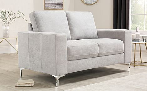 Baltimore Dove Grey Plush Fabric Sofa 2 Seater