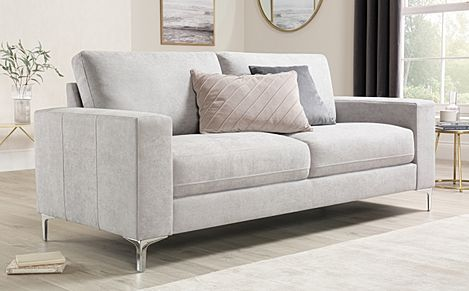 Baltimore Dove Grey Plush Fabric Sofa 3 Seater