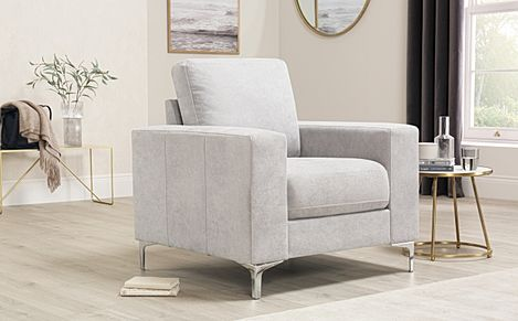 Baltimore Dove Grey Plush Fabric Armchair