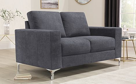 Baltimore Slate Grey Plush Fabric 2 Seater Sofa