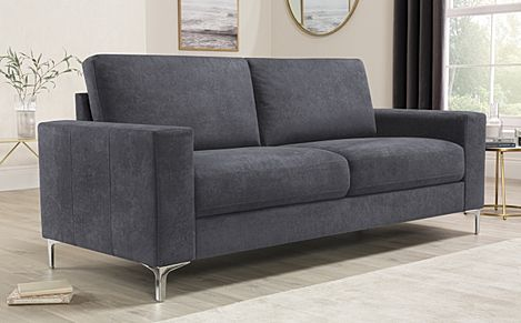 Baltimore Slate Grey Plush Fabric Sofa 3 Seater