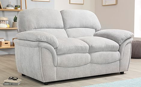 Rochester Dove Grey Plush Fabric 2 Seater Sofa