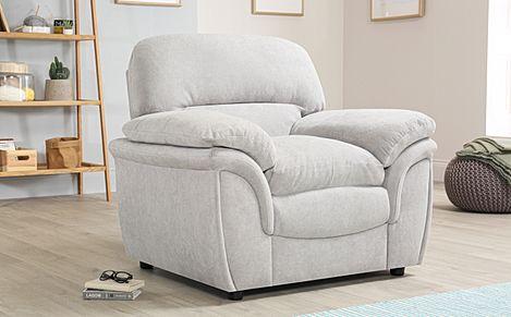 Rochester Dove Grey Plush Fabric Armchair