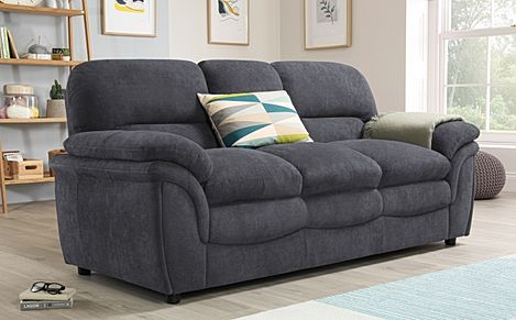 Rochester Slate Grey Plush Fabric Sofa 3 Seater