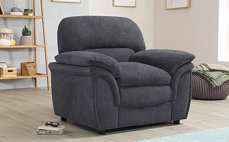 Rochester Slate Grey Plush Fabric Armchair