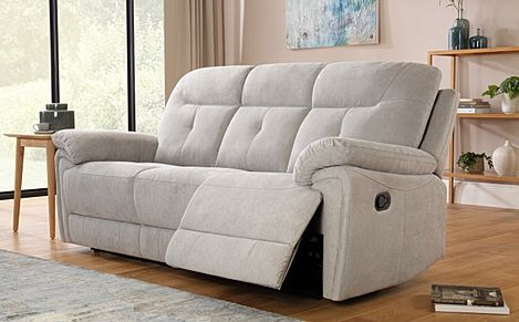 Ellington Dove Grey Plush Fabric Recliner Sofa 3 Seater