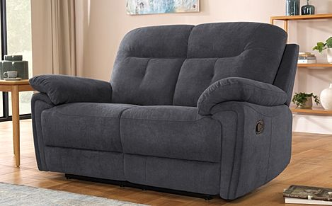 Ellington Slate Grey Plush Fabric Recliner Sofa 2 Seater