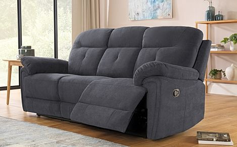 Ellington Slate Grey Plush Fabric Recliner Sofa 3 Seater
