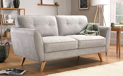 Harlow Dove Grey Plush Fabric Sofa 2 Seater