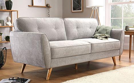 Harlow Dove Grey Plush Fabric 3 Seater Sofa