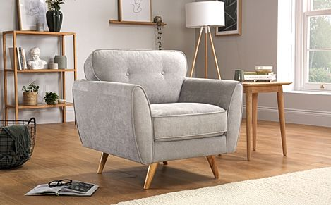 Harlow Dove Grey Plush Fabric Armchair