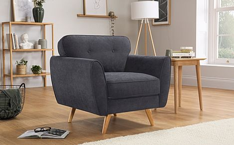 Harlow Slate Grey Plush Fabric Armchair