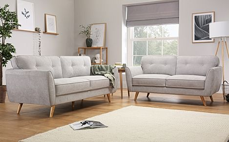 Harlow Dove Grey Plush Fabric 3+2 Seater Sofa Set