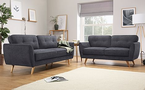 Harlow Slate Grey Plush Fabric 3+2 Seater Sofa Set