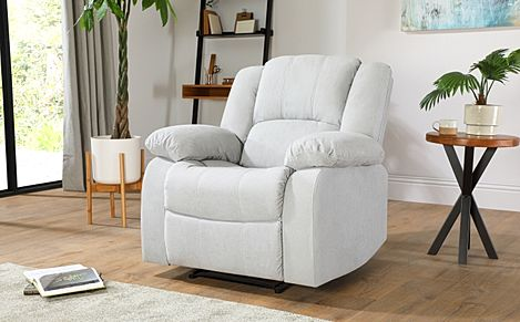 Dakota Dove Grey Plush Fabric Recliner Armchair