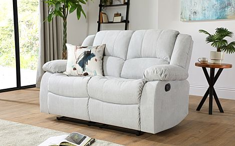 Dakota Dove Grey Plush Fabric 2 Seater Recliner Sofa