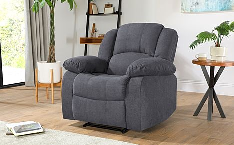 Dakota Slate Grey Plush Fabric Recliner Armchair