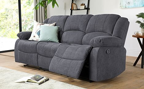 Dakota Slate Grey Plush Fabric 3 Seater Recliner Sofa