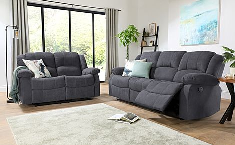 Dakota Slate Grey Plush Fabric 3+2 Seater Recliner Sofa Set