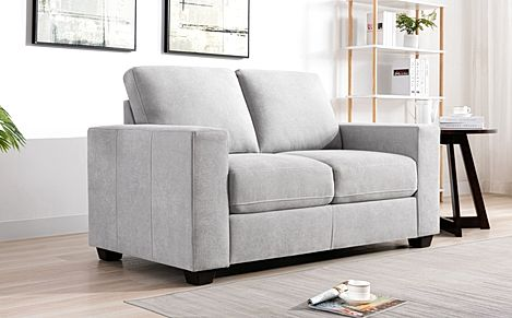 Mission Dove Grey Plush Fabric 2 Seater Sofa