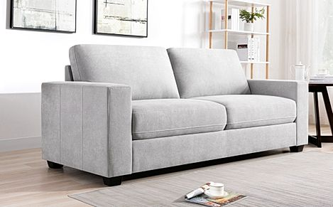 Mission Dove Grey Plush Fabric 3 Seater Sofa