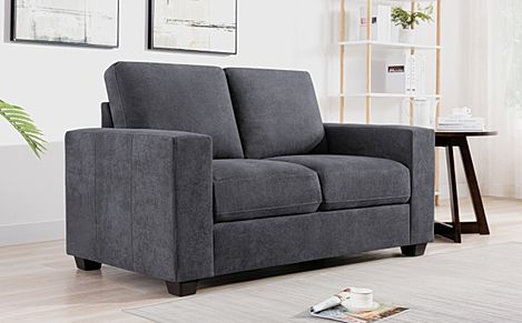 Mission Slate Grey Plush Fabric 2 Seater Sofa